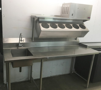 STAINLESS STEEL WORKTABLE WITH PREP SINK AND REFRIGERATED RAIL