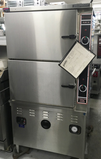 """Convection Steamer, gas fired, (2) compartments, 36"""" cabinet base, twelve 12"""" x 20"""" x 2-1/2"""" pan/compartment capacity, 300,000 BTU gas-fired boiler base, stainless steel construction"""