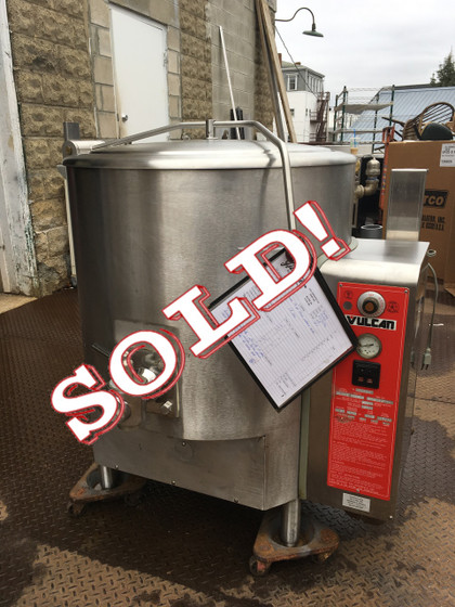 "Fully Jacketed Stationary Kettle, Gas, 40-gallon capacity, stainless steel spring assisted cover, 2"" plug draw-off valve with perforated strainer, graduated measuring rod, faucet bracket, stainless steel construction with 316 series stainless steel liner, flanged feet, electric ignition, 135,000 BTU"