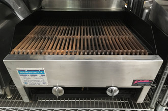 "Charbroiler, gas, countertop, lava rock over heavy cast iron burners, cast iron grates can be flat or raised, 21-1/2"" W x 23"" D, full length grease trough, stainless steel front, top and sides, 2"" adjustable legs, 60,000 BTU"
