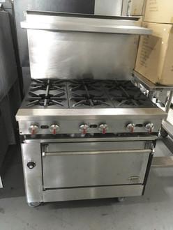 "JADE JBR-6-36 Bistro™ Restaurant Range, gas, 36"", (6) 30,000 BTU open burners, infinite controls, standard oven, (1) chrome plated rack, stainless steel front, sides, tray bed & stub back, 6"" adjustable legs, 210,000 BTU, CSAus, NSF."