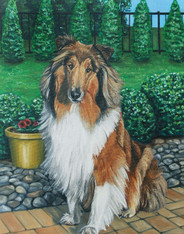 "16"" x 20"" Custom Pet Painting- One Pet, with Background"