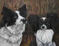 "16"" x 20"" Custom Pet Painting- 2 Pets, with Background"