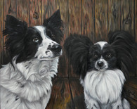 "20"" x 24"" Custom Pet Painting- 2 Pets, with Background"