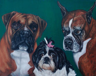 "20"" x 24"" Custom Pet Painting- 3 Pets, No Background"