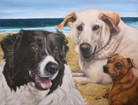 "16"" x 20"" Custom Pet Painting- 3 Pets, with Background"