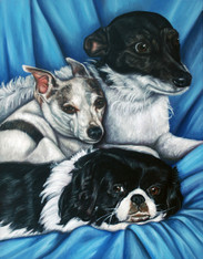 """20"""" x 24"""" Custom Pet Painting- 3 Pets, with Background"""
