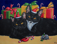 "14"" x 18"" Oil Painting -""Kitty Cat Christmas"""
