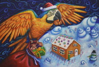 "13"" x 19"" Oil Painting -""Macaw Candyland"""