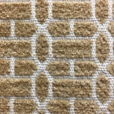 Two Tone Tan Chenille Lattice Upholstery Drapery Fabric By The Yard 54 Inches