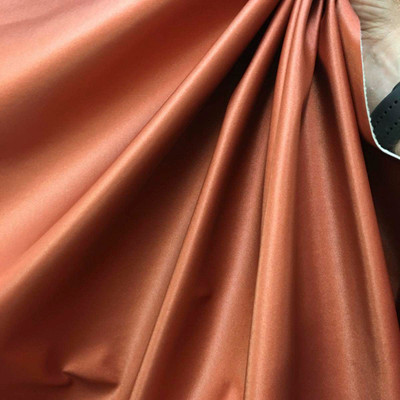"Burnt Orange Satin Fused Vinyl Upholstery Fabric By The Yard 54""W Felt Backing"
