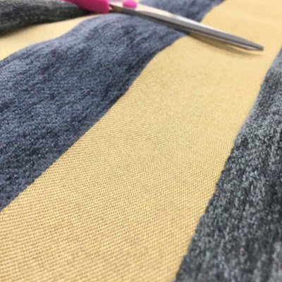 Gold and Berry Blue Striped Upholstery Fabric