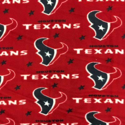 Houston Texans Football Team Red White Blue Stars and Mascot NFL Fleece Fabric