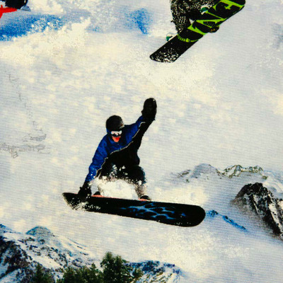 Snowboarders Quilting Fabric