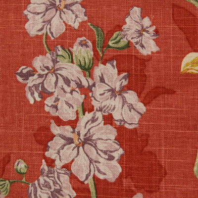 Muted Red Floral On Linen Drapery Fabric