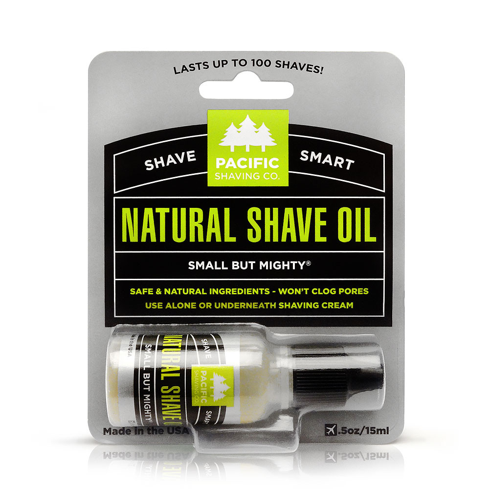 Natural Shaving Oil by Pacific Shaving Company. Made from essential oils, this tiny miracle works wonders for both men and women on even the most sensitive skin.