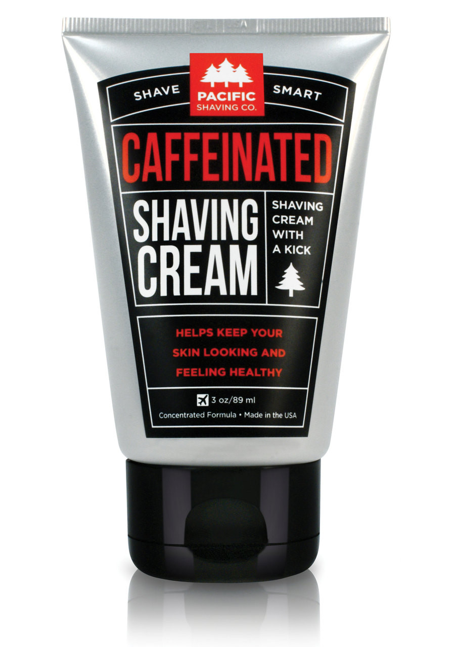 Caffeinated Shaving Cream by Pacific Shaving Company. This outstanding aftershave moisturizer utilizes the many benefits of naturally-derived caffeine to help liven up your morning shave routine. It will give you an exceptional shave, help reduce the appearance of redness, and keep your skin looking and feeling healthy all day. It may not replace your morning coffee, but it will give a little extra kick to your morning routine. A little goes a long way.