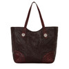 America West Annie's Secret Collection Large Zip Top Tote Secret Compartment Chocolate with Crimson