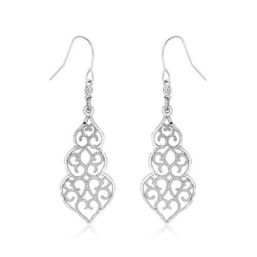10K White Gold Fancy Drop Earrings