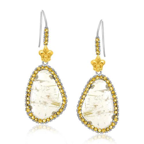 18K Yellow Gold & Sterling Silver Rutilated Quartz Drop Earrings