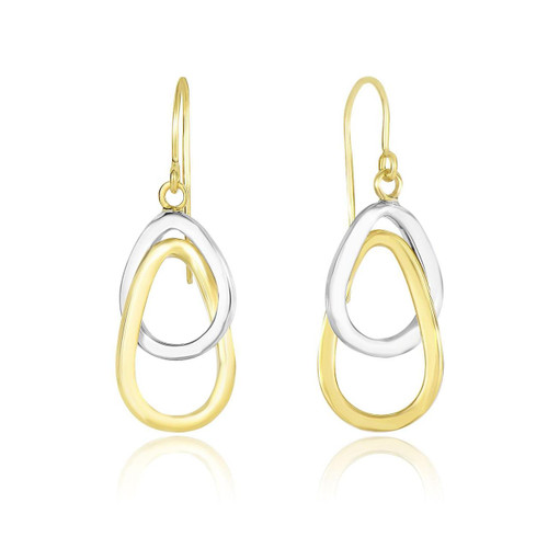 14K Two-Tone Gold Interlaced Open Teardrop Drop Earrings