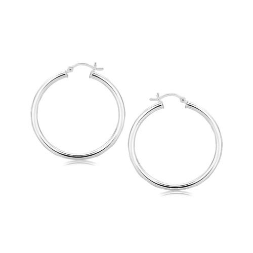 Sterling Silver Rhodium Plated Polished Motif Hoop Earrings (35mm)