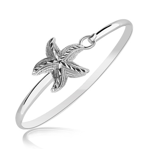 Sterling Silver Starfish Motif Slim Bangle with Rhodium Plating