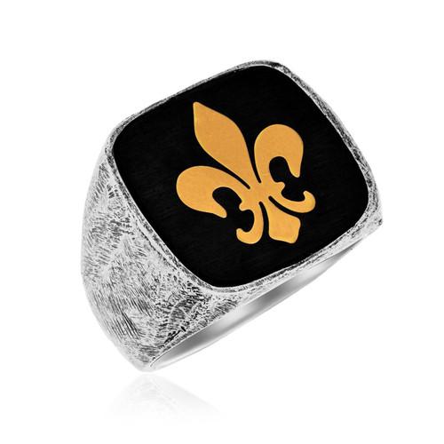 18K Yellow Gold & Sterling Silver Fleur De Lis Men's Ring