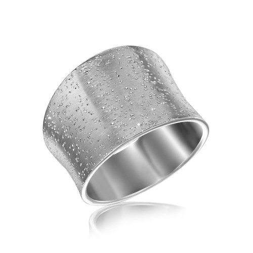 Sterling Silver Stardust Textured Rhodium Plated Concave Ring