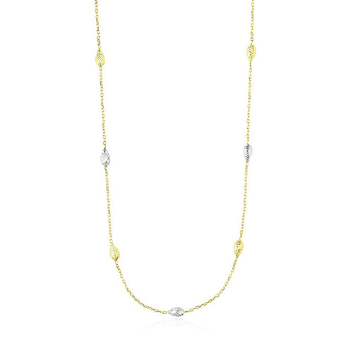14K Two-Tone Gold Puffed Diamond Cut Teardrop Station Chain Necklace