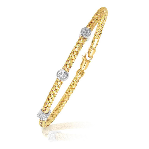 14K Two-Tone Gold Diamond Accent Station Basket Weave Bracelet