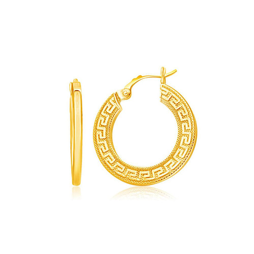 14K Yellow Gold Greek Key Medium Hoop Earrings with Flat Sides