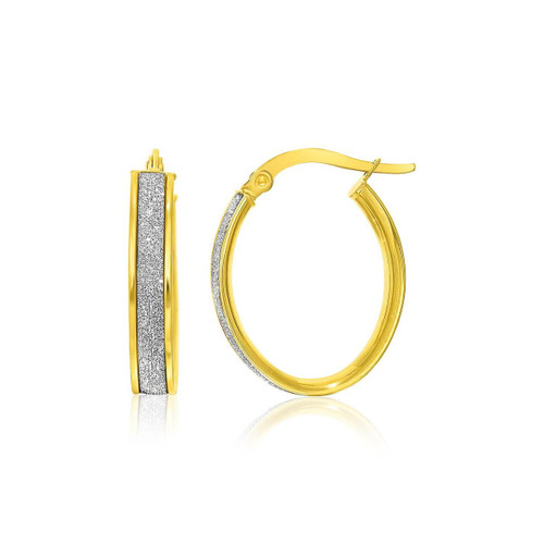 14K Two-Tone Gold Glitter Center Oval Hoop Earrings - 34569