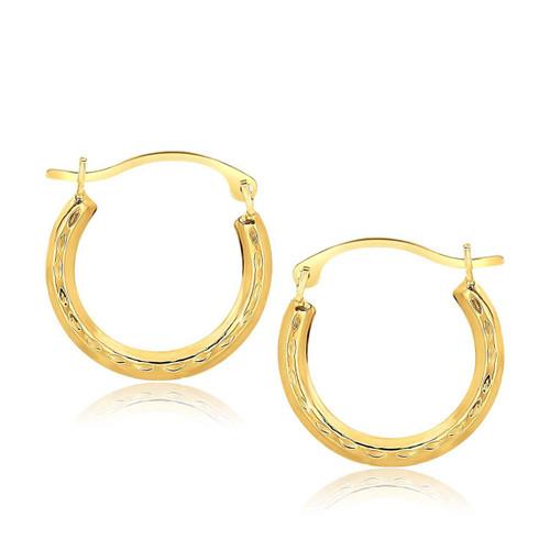 10K Yellow Gold Fancy Hoop Earrings