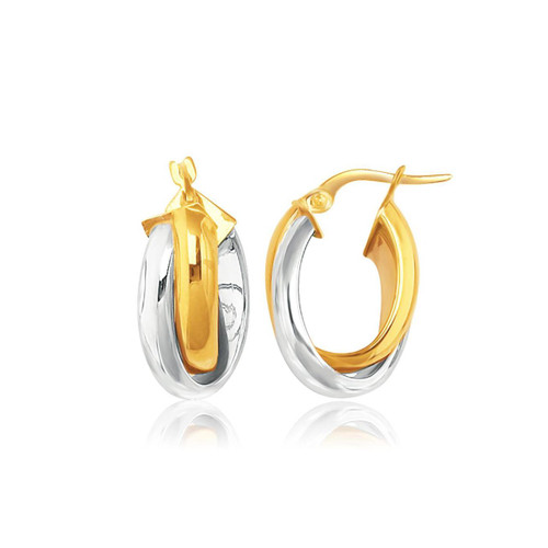 14K Two-Tone Gold Double Row Intertwined Oval Hoop Earrings