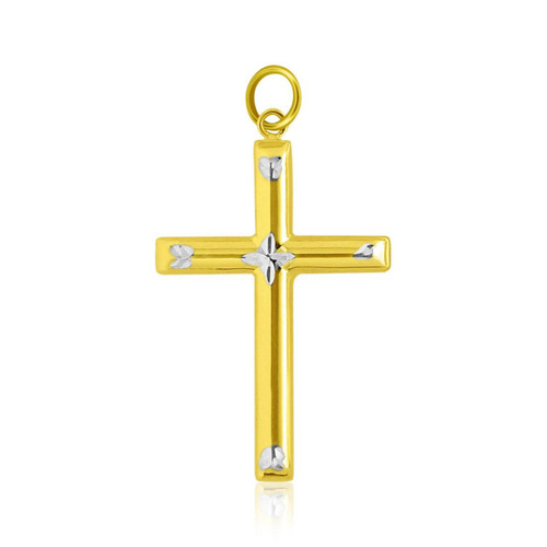14k Two-Tone Gold Diamond Cut Fancy Cross Pendant