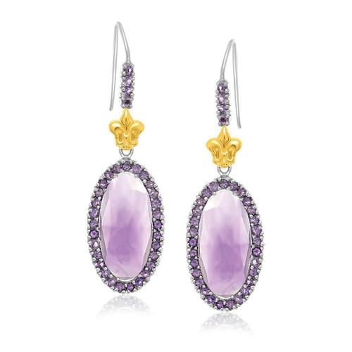 18K Yellow Gold & Sterling Silver Oval Amethyst Fleur De Lis Earrings