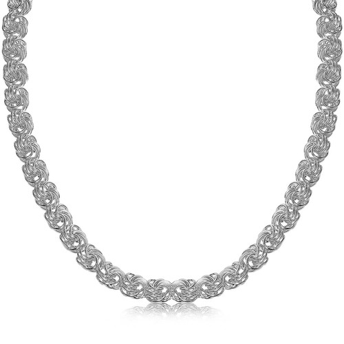 Sterling Silver Rhodium Plated Byzantine Motif Chain Necklace