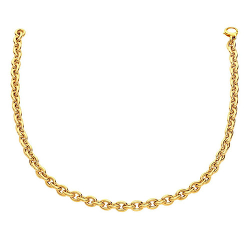 14K Yellow Gold Polished Cable Link Necklace
