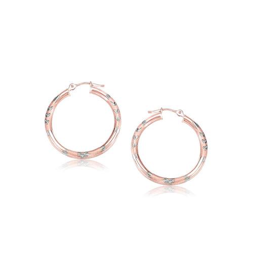 14K Rose Gold Fancy Diamond Cut Hoop Earrings (25mm Diameter)