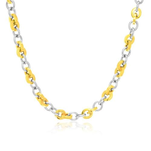 14K Two-Tone Gold Stylish Round Link Necklace