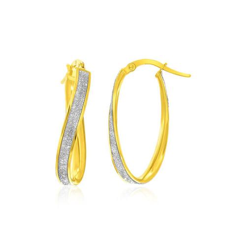 14K Two-Tone Gold Oval Hoop Twist Glittery Earrings