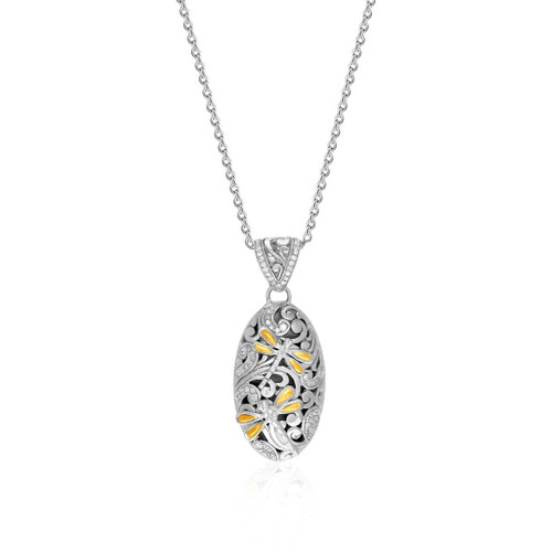 18K Yellow Gold & Sterling Silver Oval Diamond and Dragonfly Pendant