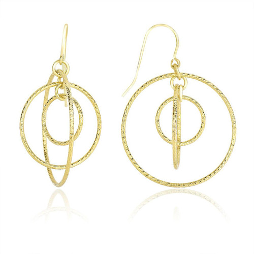 14K Yellow Gold Concentric Multi-Circle Diamond Cut Drop Earrings