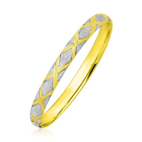 10K Two-Tone Gold Geometric Diamond Motif Bangle