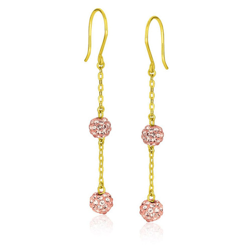 14K Yellow Gold Dangling Pink Tone Crystal Ball Earrings