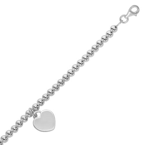 Sterling Silver Rhodium Plated Heart Charmed Bead Motif Bracelet
