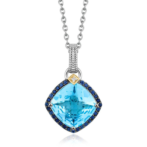 18K Yellow Gold and Sterling Silver Cushion Multi Gemstone and Diamond Pendant