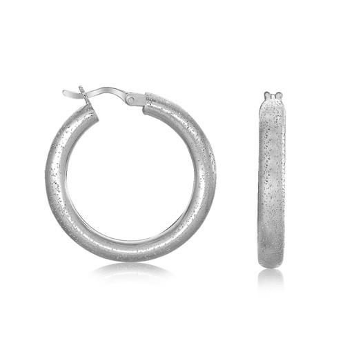 Sterling Silver Rhodium Plated Stardust Textured Hoop Earrings