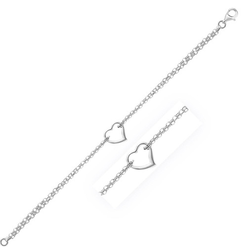 14K White Gold Cable Chain Anklet with Open Heart Station